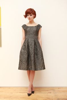 Beautiful 50s style frocks from Barbara Tfank RTW Fall 2012 | Oh… and how adorable is the model's hair?!