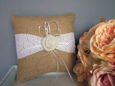 Burlap Wedding Ring Bearer Pillow Summer Wedding by TwiningVines, $35.00