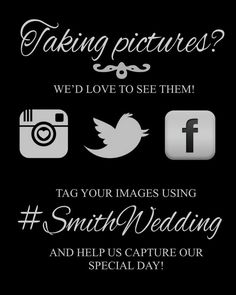 Instagram Wedding Sign  Printable by ElegantPrintables on Etsy, $8.00