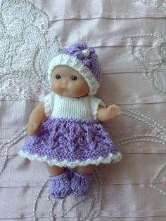 Hand knitted dolls clothes to fit 5 Berenguer by HandKnittedbyme