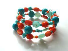 SALE Memory Wire Bracelet . Beaded . Orange Tangerine by Surori, $16.00