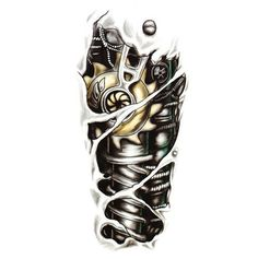 Free Shipping New Fashion Man 3D Tattoo Robot Arm Tattoo Stickers Waterproof Temporary Tattoo Stickers