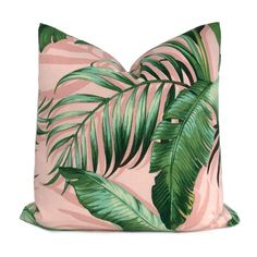 Palmiers Pink Green Palm Leaf Print Indoor Outdoor Pillow Cover (Tommy Bahama fabric) - Fits 12x24 insert (11.5x23 cover)