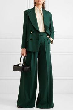 Emerald grain de poudre wool-blend Button fastenings through double-breasted front wool, Lycra; Business Dress, Business Mode, Look Fashion, Hijab Fashion, Fashion Outfits, Womens Fashion, Fashion Spring, Mode Costume, Feminine Fashion