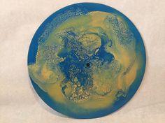 Yellow Blue Galaxy Art Wall Hanging 10 Upcycled Vinyl