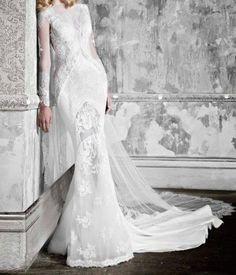 Vintage White/Ivory Lace Muslim Scoop Neck Lace Mermaid Wedding Dress