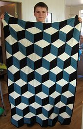 Isometric throw, free pattern by Solveig Grimstad. This uses DC for the diamond motifs, rather than the SC in the 'Vasarely' throw pattern . . . . ღTrish W ~ http://www.pinterest.com/trishw/ . . . . #crochet #afghan #blanket