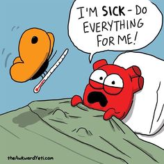 The Awkward Yeti comics. When heart is sick. Akward Yeti, The Awkward Yeti, Life Comics, Fun Comics, Heart And Brain Comic, Funny Cartoons, Funny Memes, Funny Cute, Hilarious