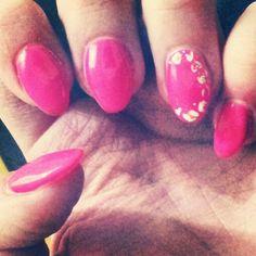 my first gel nails! neon pink, design, winter