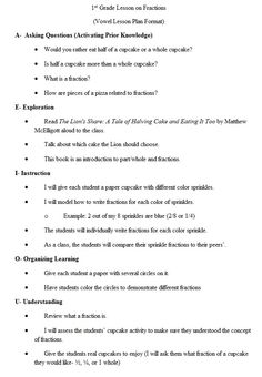 First Grade fraction lesson (AEIOU Lesson format)