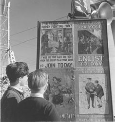 Enlistment posters went up everywhere in Toronto, including the Canadian National Exhibition. What's interesting about these particular posters that could be found in 1941 was that they were of World War I vintage. World War I, Wwii, 1940s, Toronto, Empire, Posters, Vintage, World War One, World War Ii