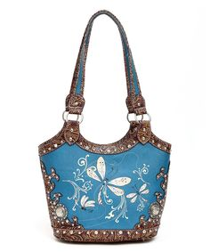 Look what I found on #zulily! Blue Heaven Peacock & Brown Dragonfly Tote by Blue Heaven #zulilyfinds