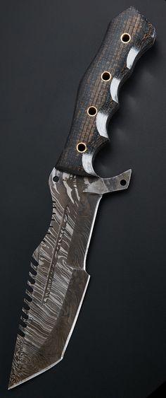 BucknBear Custom Handmade Damascus Tanto Tracker Fixed Blade Knife