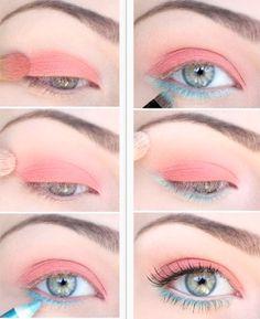 Maquillaje coral con un toque azul. Encuentra más opciones en http://www.1001consejos.com/belleza/maquillaje/