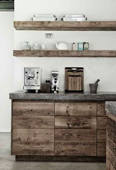 Rustic + Wood + White + Natural Modern Home Interiors Contemporary Decor Design Home Decor Kitchen, Rustic Kitchen, Kitchen Interior, Home Kitchens, Kitchen Grey, Kitchen Ideas, Open Kitchen, Kitchen Craft, European Kitchens