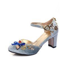 CHENSIR9 Mujeres Pleuche talones Cuadrados zapatos de mary jane zapatos de  hebilla de la correa del bowknot para la mujer del partido más el tamaño 34  43 ... c731a6293890
