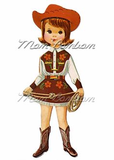 Digital Download of Large 5x7 Vintage Retro Cowgirl by monbonbon, $1.99