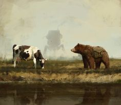 bear Wojtek, talking with cow about life :]cheers!