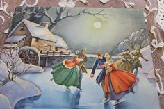 Vintage Christmas Card Unused with Glitter Ice Skating Couples Victorian Motif