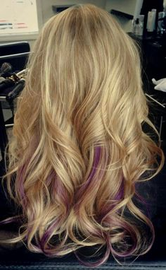 40 New Blonde Hair Color 2016 Hair Color 2016, Hair Color Purple, Hair Color And Cut, Cool Hair Color, Purple Blonde Hair, Purple Peekaboo Hair, Hair Colors, Blonde Hair With Purple Tips, Violet Hair