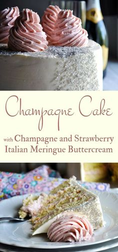 This delicate Champagne Cake is packed with flavor, filled with strawberries, & iced with Champagne Italian Meringue Buttercream. I think it's the perfect celebration cake. flavors Champagne Cake with Champagne Italian Meringue Buttercream Köstliche Desserts, Dessert Recipes, Cake Filling Recipes, Health Desserts, Mini Cakes, Cupcake Cakes, Wedding Cake Flavors, Wedding Cake Recipes, Cake Wedding
