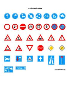Verkeersborden Elementary Schools, Homeschool, Templates, Education, Kids, Road Traffic Safety, Autism, Models, Children