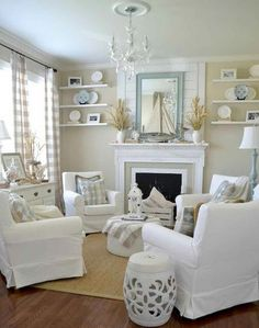 36 Awesome Coastal Living Room Decor Ideas for Getting a Holiday Every time - Page 5 of 40 Coastal Bedrooms, Coastal Living Rooms, Living Room Interior, Home Living Room, Living Room Furniture, Living Room Designs, Living Room Decor, Dining Rooms, Condo Living