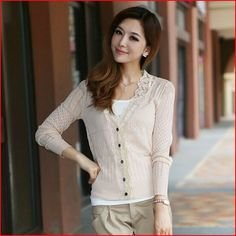 2014 Hollow Lace Crochet Knitted Flower women Sweaters long sleeve autumn summer elegant cardigan sweet candy color sweater