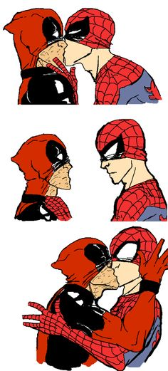 Spideypool this one made my heart skip a beat!<3(</3)<3 How CUTE!!!