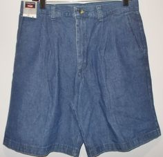 NWT Timber Creek by Wrangler Men's Size 32 Denim Pleated Relaxed Fit Shorts #TimberCreek #Denim