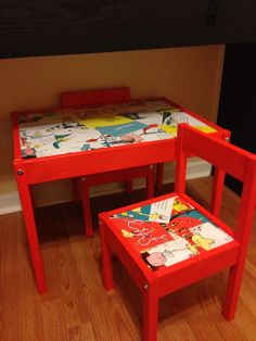 $20 ikea table transformed with a $3 sample can of paint, a $5 bottle of mod podge and a destroyed Dr Seuss book!