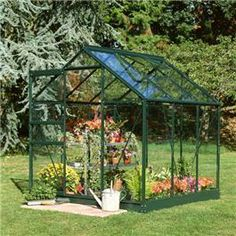 The Halls Green Aluminium Popular 6 x 6 Metal Greenhouse is a great way for garden enthusiasts to grow a great variety of plants in different seasons. This greenhouse comes in three different glass finishes horticultural, toughened glass or polycarbonate glazing.