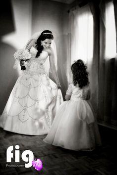 Wedding, Bride with Flower Girl Wedding Bride, Wedding Day, Wedding Dresses, Girls Dresses, Flower Girl Dresses, One Shoulder Wedding Dress, Flowers, Fashion, Pi Day Wedding