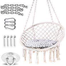 Ohuhu Hammock Chair Hanging Chair Swing with Soft Cushion & Durable Hanging Hardware Kit, Cotton Rope Indoor Macrame Swing Chairs for Bedrooms, Great Gifts for Birthday Xmas Christmas Macrame Hanging Chair, Macrame Chairs, Hanging Hammock Chair, Swinging Chair, Hanging Chairs, Garden Hammock, Camping Hammock, Swing Chair For Bedroom, Diy Chair