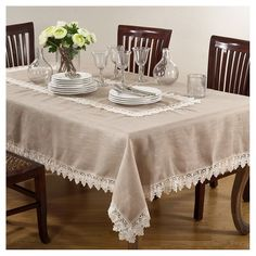 Saro Taupe Lace Trimmed Tablecloth - Saro Lifestyle your dining table with charming style to create the perfect backdrop for everyday entertaining as well as more formal settings. This tablecloth features lace trimmed edges that add a de Dining Decor, Decoration Table, Dining Table, Oblong Tablecloth, Linen Tablecloth, Tablecloth Ideas, Contemporary Dinnerware, Wedding Table Linens, Curtains