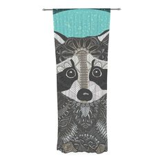 """Art Love Passion """"Racoon in Grass"""" Gray Teal Decorative Sheer Curtain from KESS InHouse"""