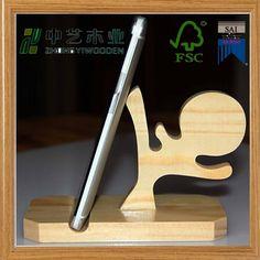 Nieuwe aankomst handgemaakt houten mobiele telefoon staan/bureau telefoon houder