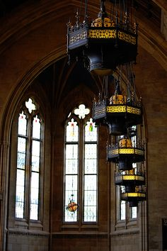 Light fixtures add to the atmosphere of the Suzzallo reading room. #youW