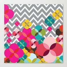 Chevron Blooms Stretched Canvas by Michelle Nilson - $85.00