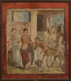 Pirithous and Hippodamia receives centaurs at his wedding. Fresco from Pompeii (House of Gavius Rufus VII, 2, 16). Inv. No. 9044. Naples, National Archaeological Museum