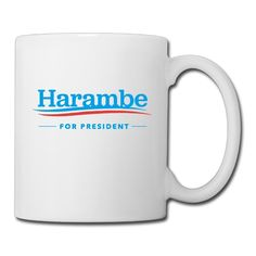 13.5-Ounce Ceramic Coffee Mug - Harambe For President Tea Cup, Gift For Men, Women And Kids Boys And Girls, White *** Amazing product just a click away  : Cat mug
