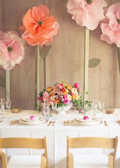 Oversized tissue paper flowers diy tutorial pin party our favorite wedding decor installations of 2013 wedding tablereception tablewedding colorswedding flowersgiant paper flower diygiant flowerswall flowerstissue mightylinksfo