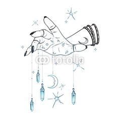Vector: Female hand with gem pendants and moon hand drawn vector illustration. B… Vector: Female hand with gem pendants and moon hand drawn vector illustration. Boho chic astrology tattoo, poster, tapestry or altar veil print design. Occult Symbols, Masonic Symbols, Crystal Drawing, Tattoo Posters, Moon Vector, Crystal Tattoo, Line Art Vector, Moon Drawing, Magic Hands