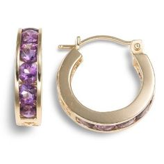 These high quality well made earrings are smaller than a dime. The stones continue on the bottom of the earrings, but there are not stones inside the back (in other words they are not an inside/out design). Instead there is a nice scroll design on the backside of the loop.