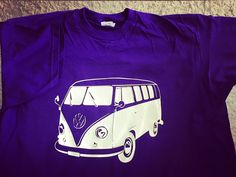 Lovely purple tshirt with white vinyl camper van design. Customer order! More info please check out my Etsy shop: southernrebelclothin.etsy.com