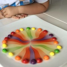 This is a simple science experiment with @skittles that every child has to try. Make a circle with skittles on a plate, add warm water and enjoy the rainbow!