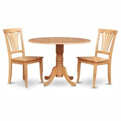 East West Furniture Dublin 3 Piece Round Dining Table Set with Avon Wooden Seat Chairs - DLAV3-