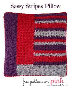 Sassy Stripes Pillow By Carolyn - Free Crochet Pattern - (pinkmambo)