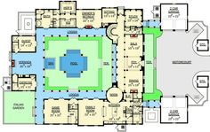 Courtyard Beauty Traditional Luxury Photo Gallery Premium Collection Floor Master Suite Butler Walkin Pantry CAD Available Courtyard DenOfficeLibraryStudy M. Dream House Plans, House Floor Plans, My Dream Home, Castle House Plans, The Plan, How To Plan, Courtyard House Plans, Casa Patio, Hacienda Style