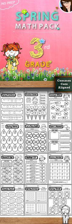 3rd Grade Spring Math Pack..60 No Prep Printables!
